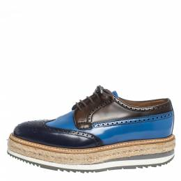 Prada Tricolor Brogue Leather Derby Espadrille Sneakers Size 39 295986