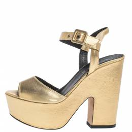 Le Silla Gold Lame Fabric Open Toe Ankle Strap Platform Block Heel Wedge Sandals Size 36 295221
