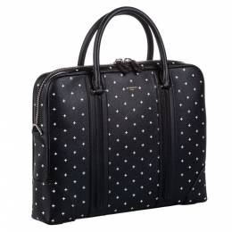 Givenchy Black Printed Leather Briefcase Bag 291302