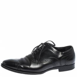 Dolce and Gabbana Black Brogue Leather Lace Up Oxfords Size 40.5 296428