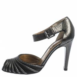 Bottega Veneta Grey Python Embossed Leather And Satin Ankle Strap Peep Toe Ankle Cuff Sandals Size 37.5 296396