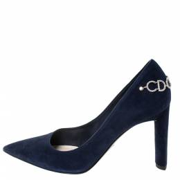 Dior Blue Suede CD Logo Chain Embellished Pointed Toe Pumps Size 38.5 296348