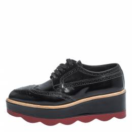 Prada Black Brogue Leather Wave Wingtip Platform Derby Sneakers Size 37.5 296251