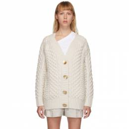 3.1 Phillip Lim White Wool Cable Knit Cardigan P202-7337COC