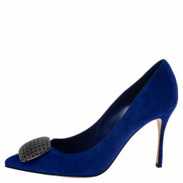 Sergio Rossi Blue Suede Leather Embellished Pumps Size 38 297165