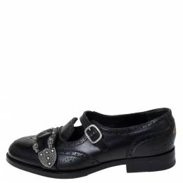 Gucci Black Brogue Leather Queercore Monk Strap Loafers Size 41 297365