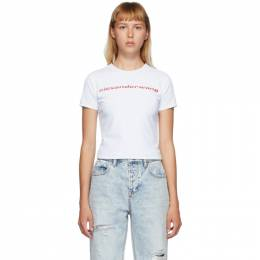 T by Alexander Wang Reversible White Shrunken Logo T-Shirt 4CC2201118