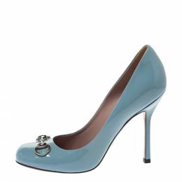 Gucci Blue Patent Leather Jolene Horsebit Pumps Size 38 297743
