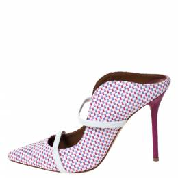 Malone Souliers Multicolor Woven Raffia And White Trim Maureen Pointed Toe Mules Size 39.5 299271