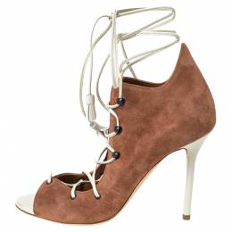 Malone Souliers Brown Suede And White Leather Savannah Ankle Wrap Sandals Size 36 299468