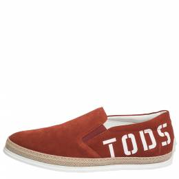 Tod's Red Suede Leather Slip On Espadrille Sneakers Size 42 Tod's 299931