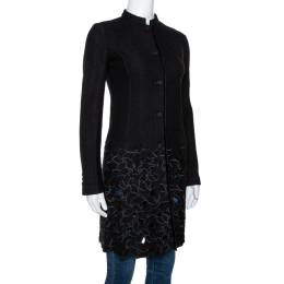 Emporio Armani Black Wool Cutout Detail Mid Length Coat S 299691