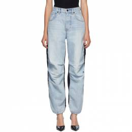 Alexander Wang Blue and Black Denim Hybrid Cargo Jeans 4DC2194485