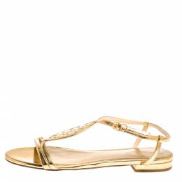 Bottega Veneta Metallic Gold Intrecciato Leather Ankle Strap Flat Sandals Size 39.5 299828