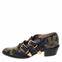 Chloe Black Leather Suzanna Studded Double Buckle Detail Loafers Size 40 301374