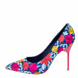 Manolo Blahnik Multicolor Floral Embroidered Canvas BB Pointed Toe Pumps Size 39 301291