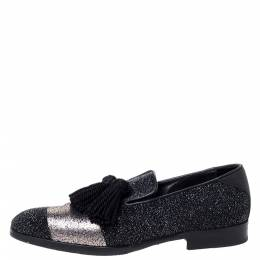 Jimmy Choo Metallic Black/Silver Glitter Suede And Leather Foxley Tassel Loafers Size 39.5 300318