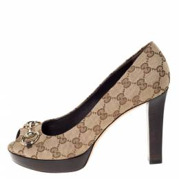 Gucci Beige GG Canvas Horsebit Peep Toe Wooden Platform Pumps Size 39.5 301393