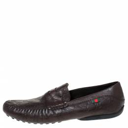 Gucci Brown Guccissima Leather Penny Loafers Size 45 302313