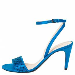 Bottega Veneta Blue Satin Intrecciato Stitch Detail Ankle Strap Sandals Size 39 302347