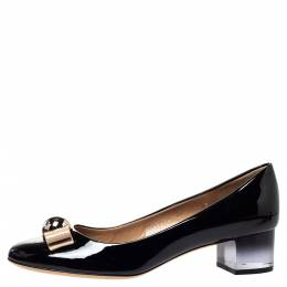 Salvatore Ferragamo Black Patent Leather Fiammetta Bow Pumps Size 41 302985