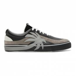 Palm Angels Black and Grey Palm Vulcanized Low Sneakers PMIA047E20LEA0021072