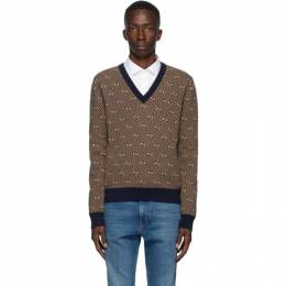 Gucci Brown and Navy Wool GG Stripe Sweater 626643 XKBFZ
