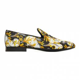 Versace White and Gold Barocco Loafers DSU6488 DTEBAC