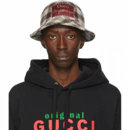 Gucci White and Brown Wool Gucci Orgasmique Bucket Hat 627041 4HL05