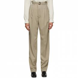 Lemaire Beige Belted Pleat Trousers X 201 PA151 LF431