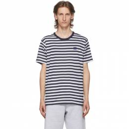 Acne Studios Navy and White Patch Striped T-Shirt CL0069