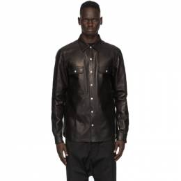 Rick Owens Black Leather Outer Shirt Jacket RU20F3729 LCW