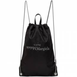 Maison Margiela Black Embroidered Logo Drawstring Backpack S55WA0122 P0924