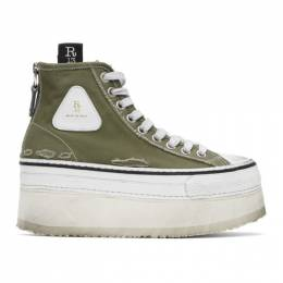 R13 Green and White Platform High Top Sneakers R13S0070-005