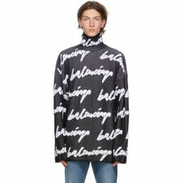 Balenciaga Black and White 3D Scribble Logo Sweater 625985-T3180-1070