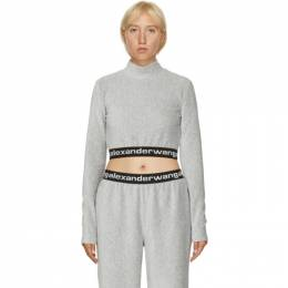 T by Alexander Wang Grey Corduroy Crop Logo T-Shirt 4CC2201130