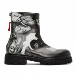 424 Black and White Printed Graphic Chelsea Boots 424PFW20034