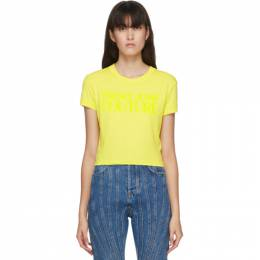 Versace Jeans Couture Yellow Cropped Logo T-Shirt EB2HZA7GC E30383