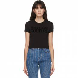 Versace Jeans Couture Black Cropped Logo T-Shirt EB2HZA7GC E30383