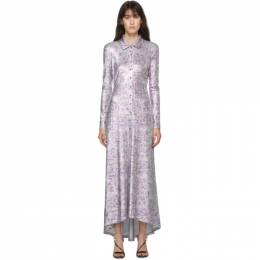 Paco Rabanne Silver and Purple Button-Up Collared Dress 20AJRO259VI0270