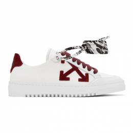 Off-White Burgundy 2.0 Low Top Sneakers OMIA042F20FAB0010128