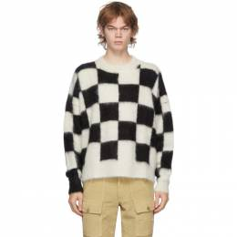 Palm Angels Black and White Check Mohair Sweater PMHE007F20KNI0030110