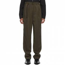 Lemaire Brown Silk Belted Pleat Trousers M 203 PA151 LF208