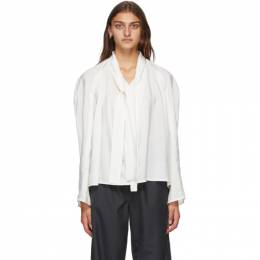 Lemaire White Silk Tie Blouse W 203 TO283 LF208