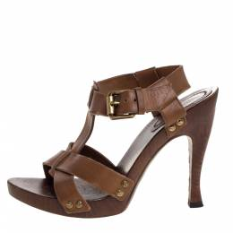 Bottega Veneta Tan Embossed Leather T Strap Wooden Platform And Heel Sandals Size 37 319220