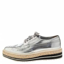 Prada Silver Glossy Brogue Leather Derby Espadrille Sneakers Size 39.5 322928