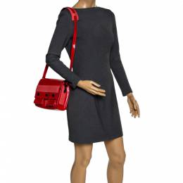 Kenzo Red Patent Leather Flap Shoulder Bags 320636