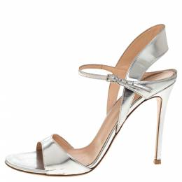 Gianvito Rossi Silver Leather Ankle Strap Sandals Size 41 320745