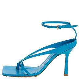 Bottega Veneta Blue Leather Square Toe Ankle Strap Sandals Size 37 320961