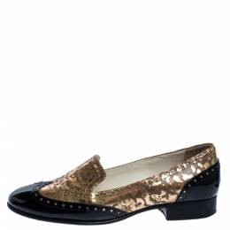 Chanel Metallic Gold And Black Patent Brogue Leather Slip On Oxford Size 39 321368